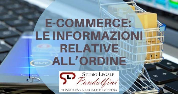 E commerce informazioni dopo ordine